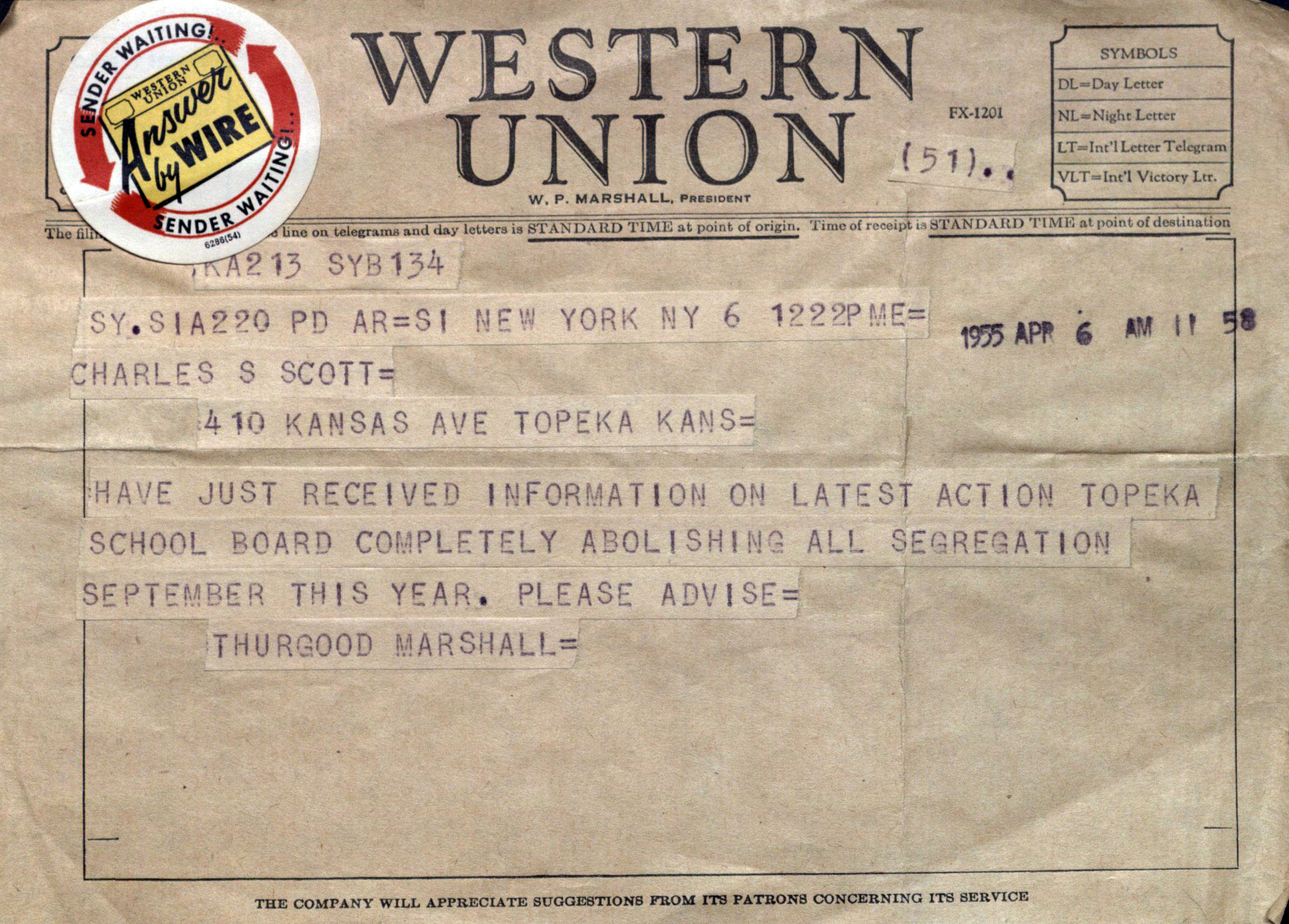 Brown v. Board of Education telegram