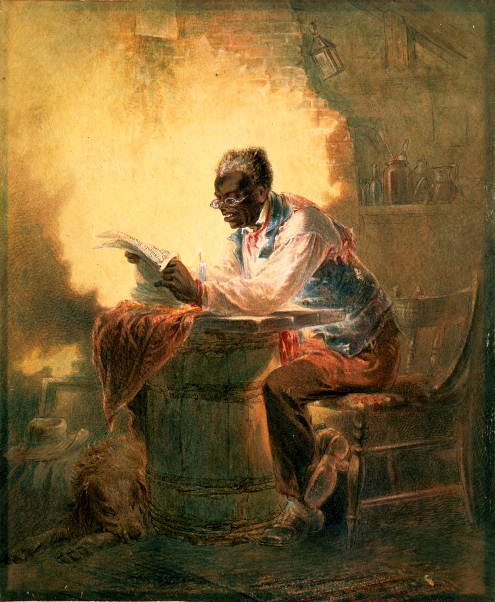 """Black man reading newspaper by candlelight Man reading a newspaper with headline, """"Presidential Proclamation, Slavery,"""" which refers to the Jan. 1863 Emancipation Proclamation. drawing : watercolor."""