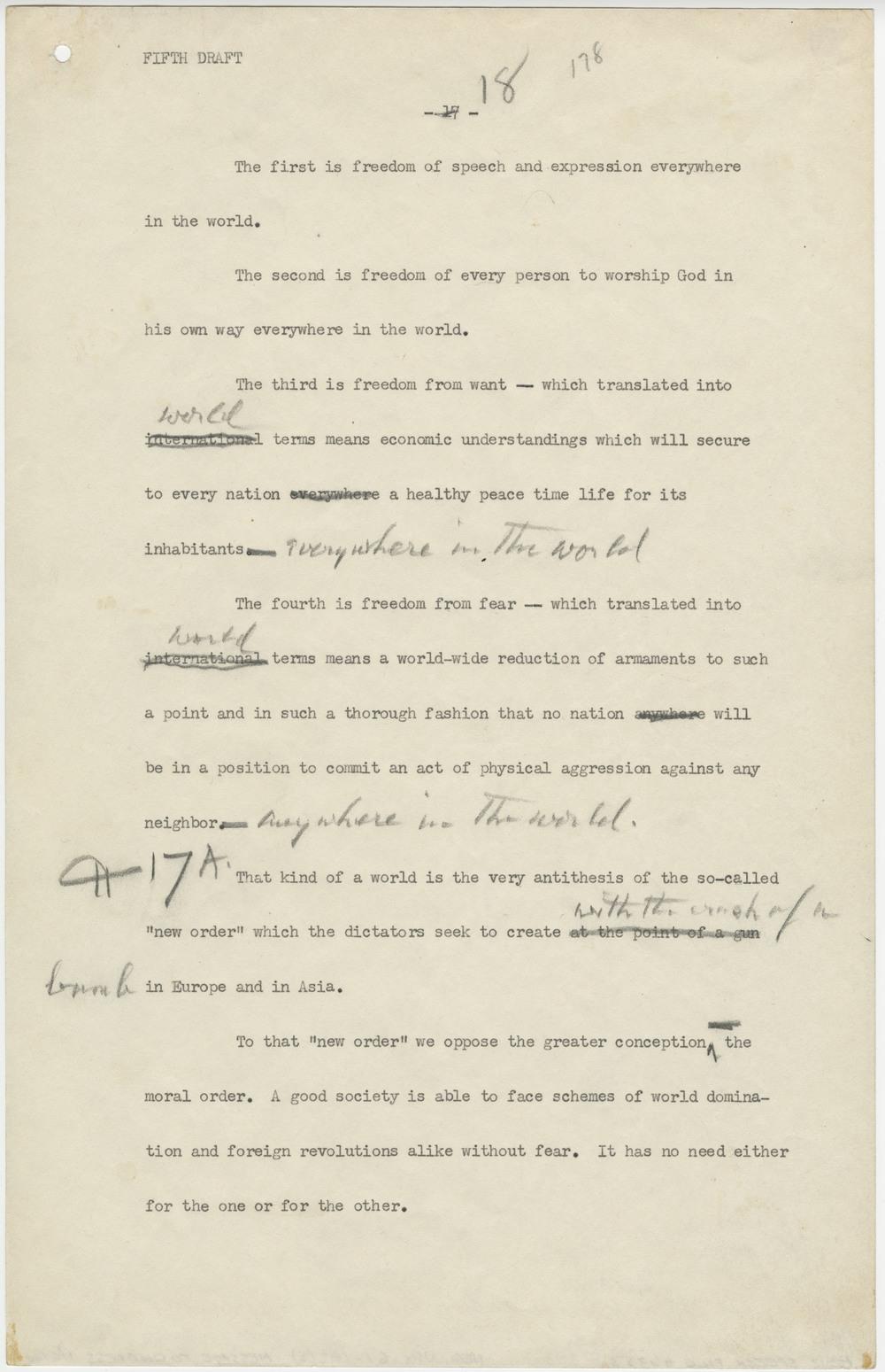Franklin Roosevelt, Four Freedoms